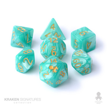 Kraken Signature's 11pc Aqua with Gold Ink Polyhedral RPG Dice Set