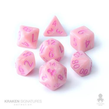 Kraken Signature's 11pc Pastel Pink with Pink Ink Polyhedral RPG Dice Set