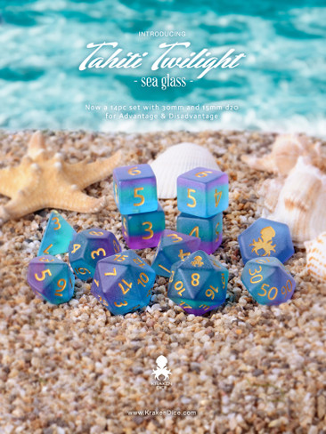 Tahiti Twilight 14pc Matte Dice Set With Kraken Logo