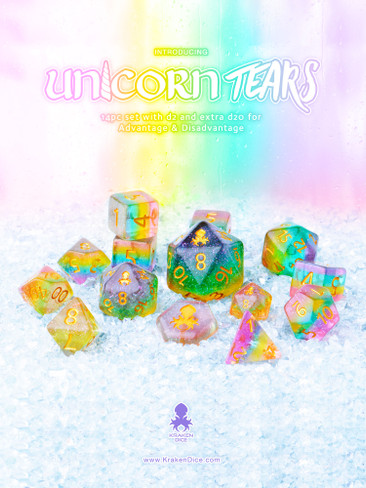 Unicorn Tears 12pc Layered Glitter Dice Set With Kraken Logo