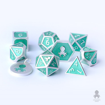 8pc Teal Enamel Polyhedral Metal Dice For RPG