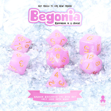 Begonia 7pc Acrylic Polyhedral Dice Set with Gold Ink