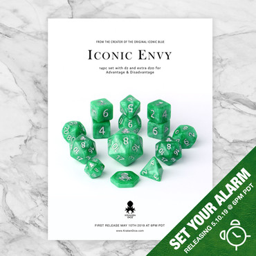 Iconic Envy 12pc Dice Set With Silver Ink