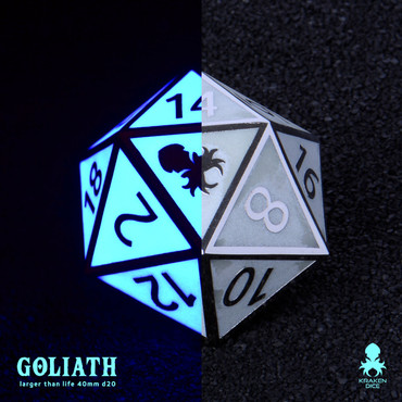 Blue Glow in the Dark 40mm Single D20 Goliath