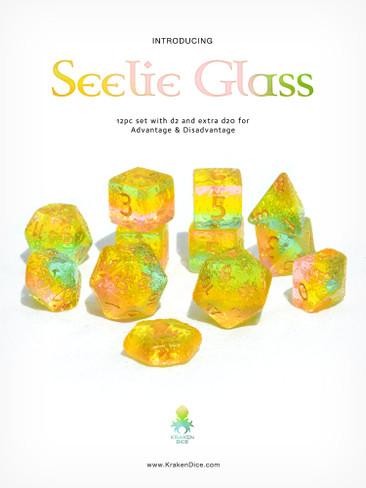 Seelie Glass 12pc Dice Set With Kraken Logo