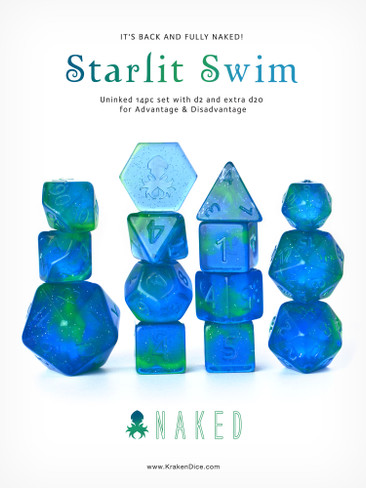 Starlit Swim Naked 14pc DnD Dice Set With Kraken Logo