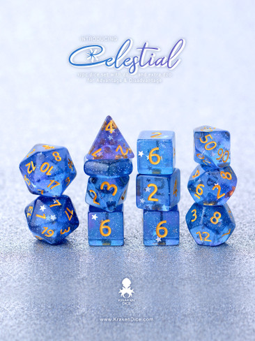 Celestial 14pc Gold Ink Dice Set With Kraken Logo