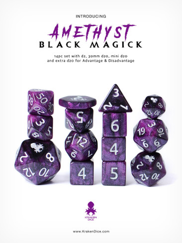 Amethyst Black Magick Silver Ink 14pc DnD Dice Set With Kraken Logo