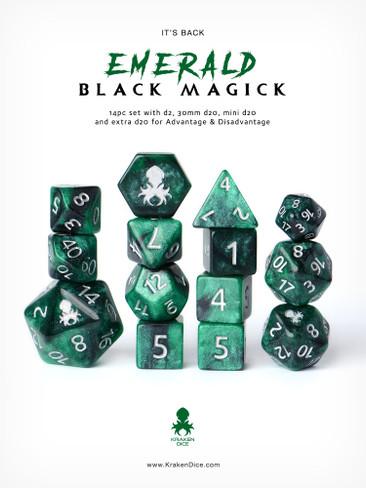 Emerald Black Magick Silver Ink 12pc DnD Dice Set With Kraken Logo