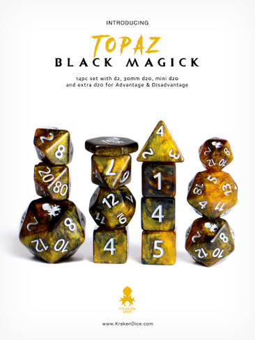 Topaz Black Magick Silver Ink 12pc DnD Dice Set With Kraken Logo