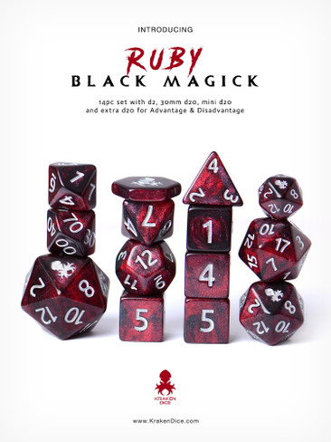 Ruby Black Magick Silver Ink 14pc DnD Dice Set With Kraken Logo