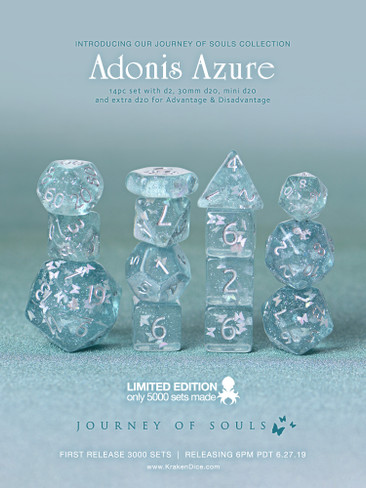 Adonis Azure 14pc Limited Edition Dice Set