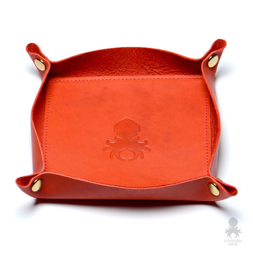 Leather Dice Tray In Blood Orange