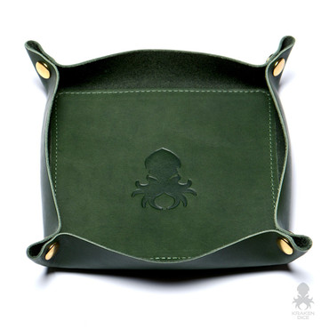 Leather Dice Tray In Forest Green
