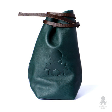 Freestanding Large Dice Bag In Green Leather