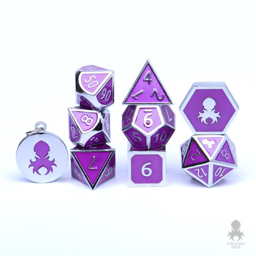 Hidden Eyes Metal RPG Dice With Purple Enamel & Kraken Logo