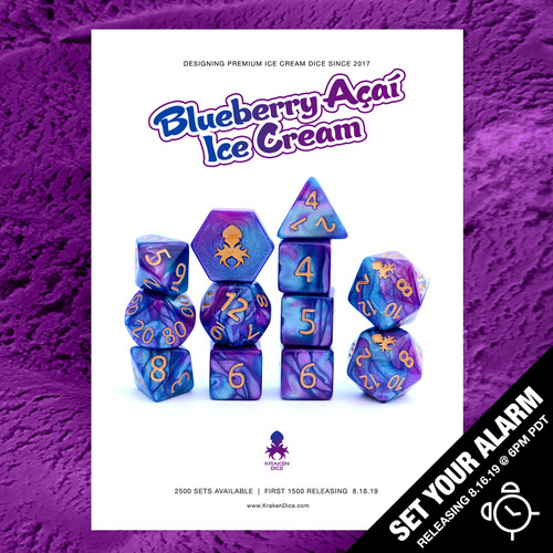 Blueberry Acai Ice Cream Dice 12pc RPG Dice Set with Gold Ink