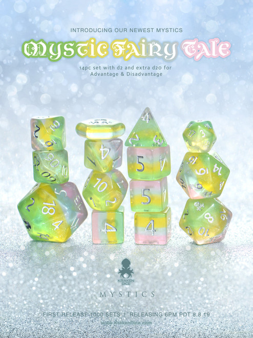 Mystic Fairy Tale 12pc Dice Set With Kraken Logo