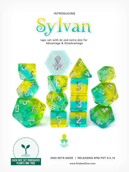 Sylvan 14pc Dice Set With Kraken Logo
