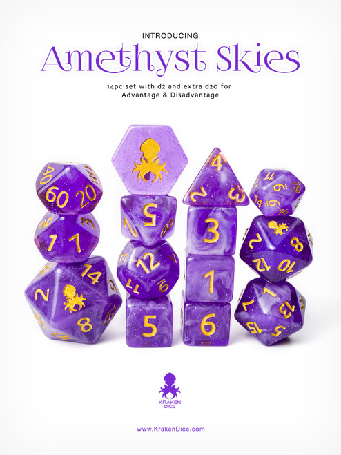 Amethyst Skies 12pc Gold Ink with Kraken Logo Polyhedral Dice Set for RPGS