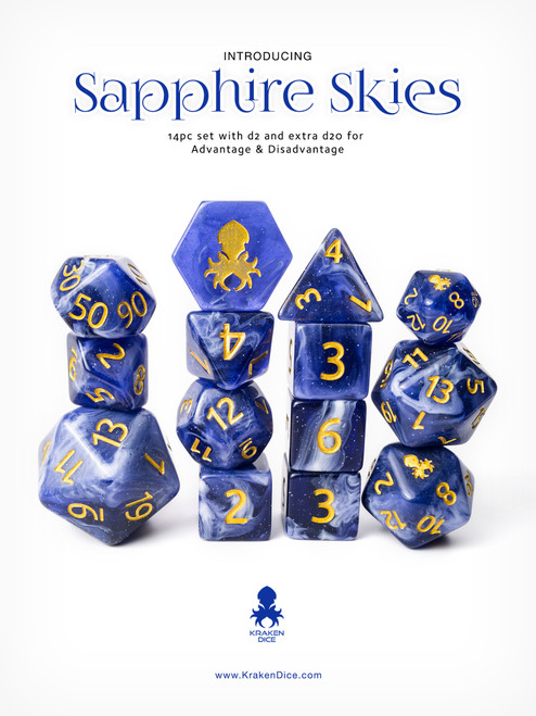 Sapphire Skies 12pc Gold Ink with Kraken Logo Polyhedral Dice Set for RPGS