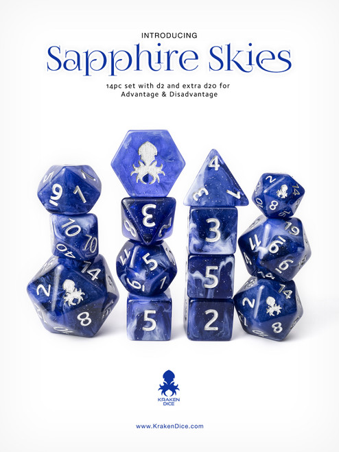 Sapphire Skies 14pc Silver Ink with Kraken Logo Polyhedral Dice Set for RPGS
