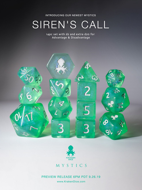 Siren's Call 14pc Silver Ink Dice Set With Kraken Logo