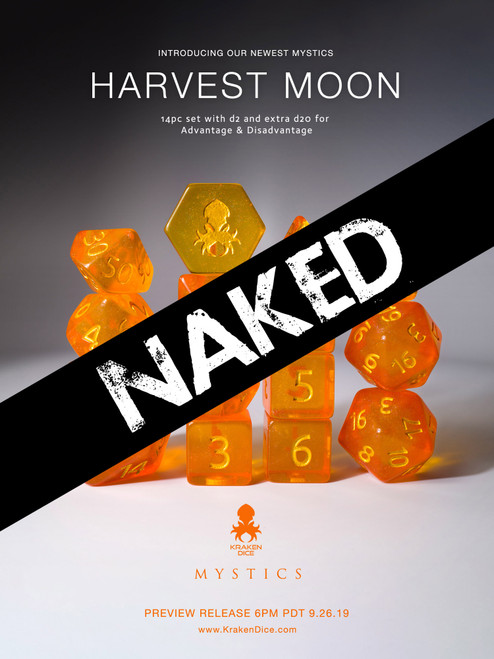 Harvest Moon 14pc Naked Dice Set With Kraken Logo