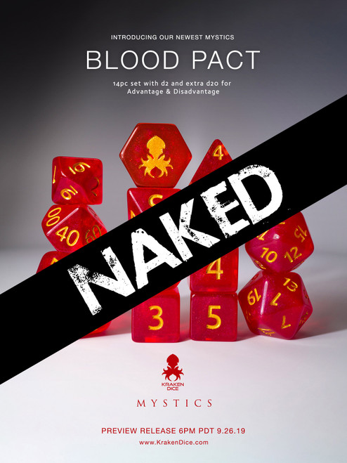 Blood Pact 14pc Naked Dice Set With Kraken Logo