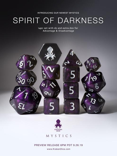 Spirit of Darkness 12pc Silver Ink Dice Set With Kraken Logo