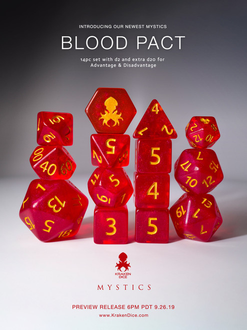 Blood Pact 14pc Gold Ink Dice Set With Kraken Logo