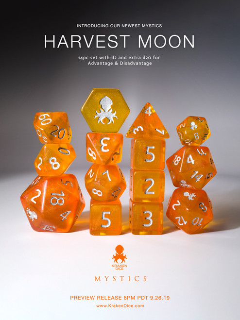 Harvest Moon 12pc Silver Ink Dice Set With Kraken Logo