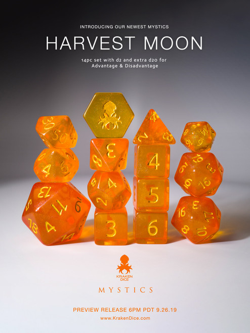 Harvest Moon 12pc Gold Ink Dice Set With Kraken Logo