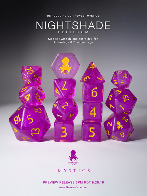 Nightshade: Heirloom 12pc Gold Ink Dice Set With Kraken Logo