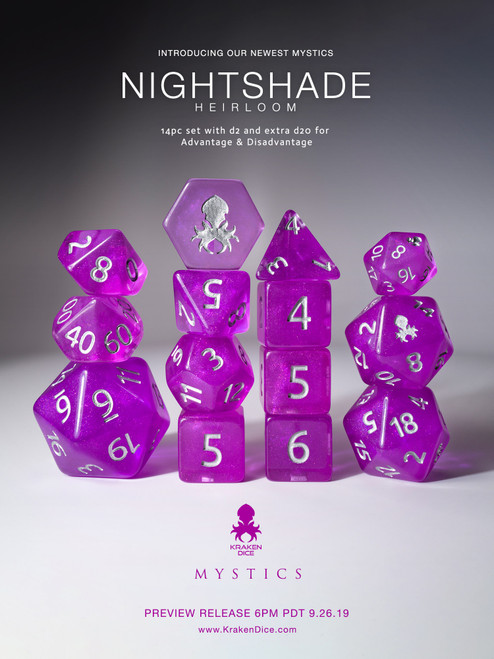Nightshade: Heirloom 12pc Silver Ink Dice Set With Kraken Logo