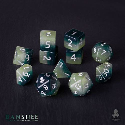Banshee 12pc Silver Ink Dice Set With Kraken Logo