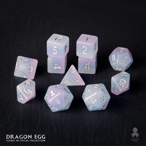 Dragon Egg 12pc Silver Ink Dice Set With Kraken Logo