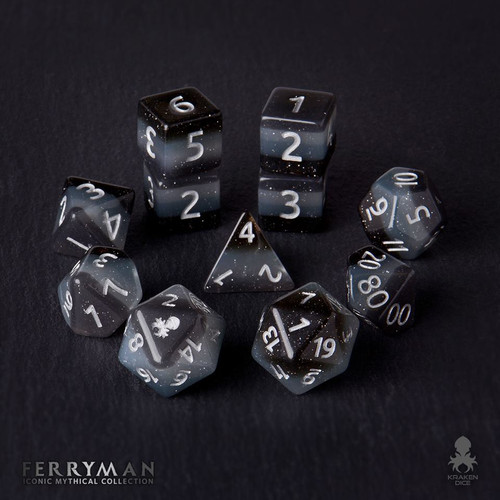 Ferryman 12pc Silver Ink Dice Set With Kraken Logo