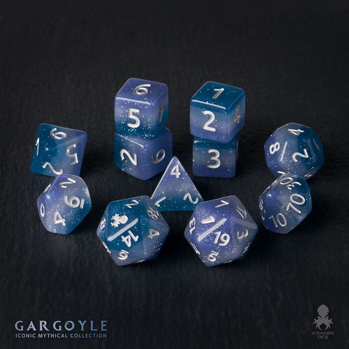 Gargoyle 12pc Silver Ink Dice Set With Kraken Logo