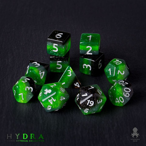 Hydra 12pc Silver Ink Dice Set With Kraken Logo