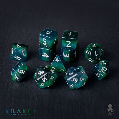 Kraken 12pc Silver Ink Dice Set With Kraken Logo