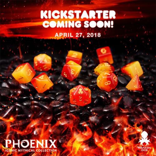 Phoenix 12pc Gold Ink Dice Set With Kraken Logo
