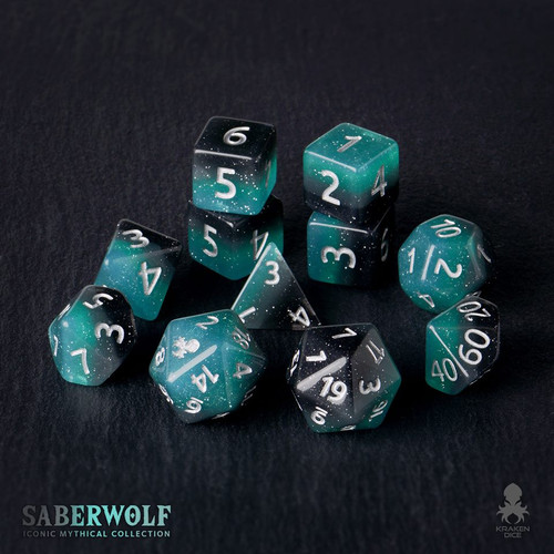 SaberWolf 12pc Silver Ink Dice Set With Kraken Logo