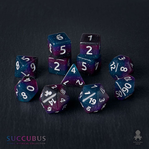 Succubus 12pc Silver Ink Dice Set With Kraken Logo