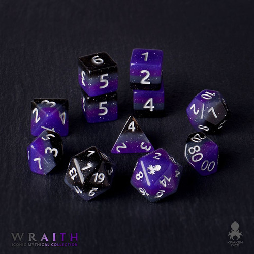 Wraith 12pc Silver Ink Dice Set With Kraken Logo