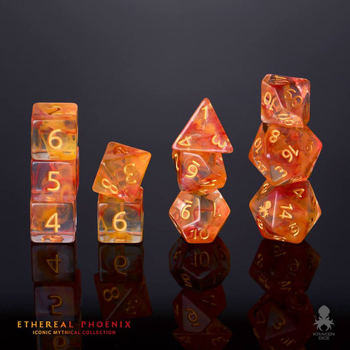 Ethereal Phoenix 12pc Gold Ink Dice Set With Kraken Logo
