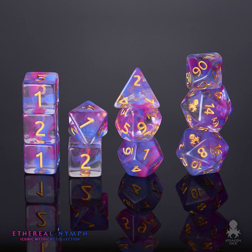 Ethereal Nymph 12pc Gold Ink Dice Set With Kraken Logo