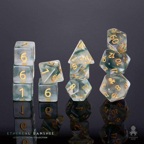 Ethereal Banshee 12pc Gold Ink Dice Set With Kraken Logo