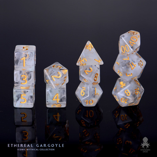 Ethereal Gargoyle 12pc Gold Ink Dice Set With Kraken Logo
