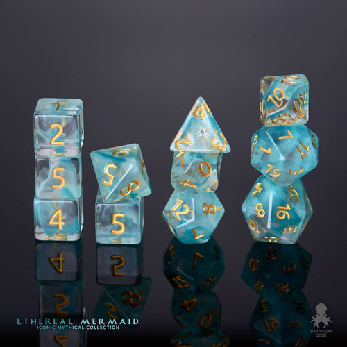 Ethereal Mermaid 12pc Gold Ink Dice Set With Kraken Logo